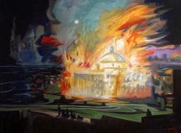 El Incendio de la Cámara de Representantes y el Senado e Puerto Rico en Noche de Luna llena visto desde la Muralla del Castillo de San Cristóbal