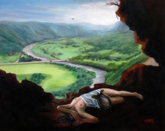 Paisaje de Cueva Ventana en Arecibo con Eurídice abandonada por Orfeo transformado en Pájaro