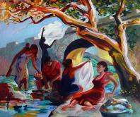 """Las Lavanderas / Oil on Canvas / 22"""" x 28"""""""