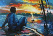 """Sunset in Aswan, Egypt / Oil on Canvas / 12"""" x 18"""""""