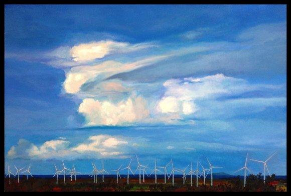 Paisaje del Sur con Nubes y Aerogeneradores