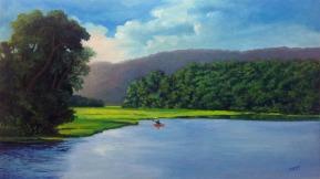 """Lago Las Curías / Oil on Canvas / 28"""" x 16"""""""
